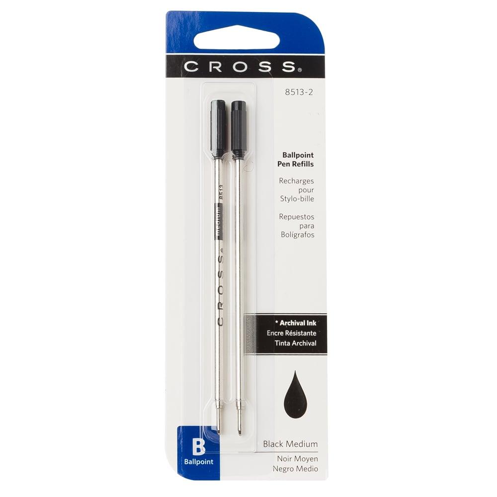 Cross BLACK MEDIUM Ball Point Refill Pen 2 Refills 8513-2 NEW SEALED