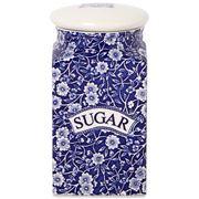 Burleigh - Blue Calico Square Sugar Jar w/Sealed Lid 18.1cm