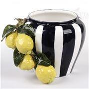 Zanatta - Pot w/Blue Stripe And Lemons' Arrangement 28x23cm