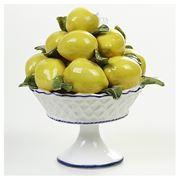 Zanatta - Fruit Bowl of Lemons/Leaves w/Foot & Blue Frieze
