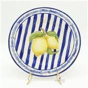 Zanatta - Smooth Dessert Dish with Blue Stripe & Lemon