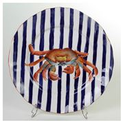 Zanatta - M/Dessert Dish w/Cobalt Blue Stripes & Crab 21cm