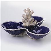 Zanatta - 3 Deep Shells Snack Dish w/Coral & Base N°5 Blue