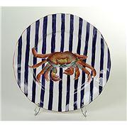 Zanatta - Massed Sousplat w/Cobalt Blue Stripes & Crab 34cm