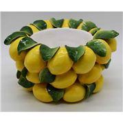 Zanatta - Bamboo Cachepot w/Lemons & Leaves Application