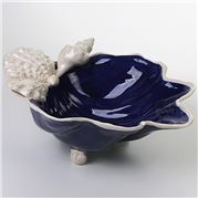 Zanatta - C/Blue Shell Bowl w/Shells Application 36x12x28cm