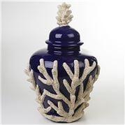 Zanatta - Potiche Cobalt Blue w/Coral Application 30x53cm