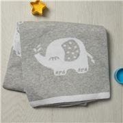 Bubba Blue - Petite Elephant Reversible Cotton Knit Blanket
