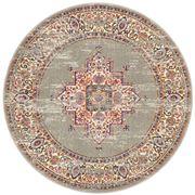 Rug Culture - Grey & Multi Oriental Look Round Rug 200x200cm
