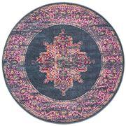 Rug Culture - Navy & Fuschia Oriental Round Rug 240x240cm