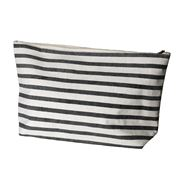 Executive Concepts - Canvas Cosmetic Bag Black White Stripes