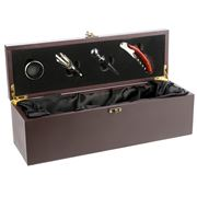Winex - Brown Wooden Wine Box w/ Accessories