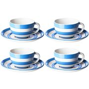 Cornishware - Blue Breakfast Cup & Saucer Set of 4