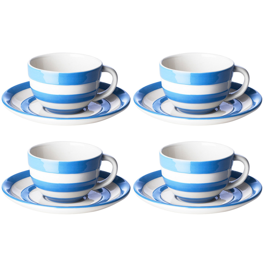 Cornishware Blue and White Stripe Set of 4 Breakfast Cups and Saucers