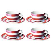 Cornishware - Red Breakfast Cup & Saucer Set of 4