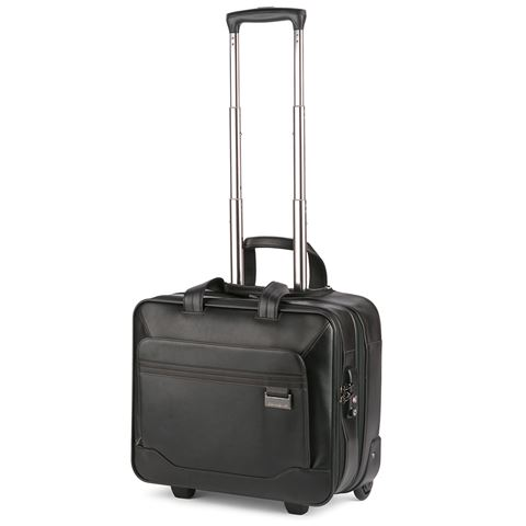 Samsonite Savio Iv Leather Rolling Tote Bag Black