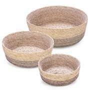 Linen & Moore - Cruz Mink Stripe Round Basket Set 3pce