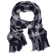 D Lux - Dexter Wool/Cashmere Navy Print Scarf