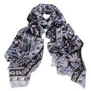 D Lux - Atlanta Wool/Silk Navy Print Scarf