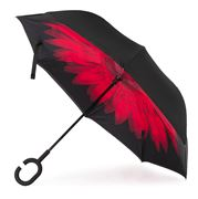 Clifton - Outside-In Inverted Red Flower/Black Umbrella
