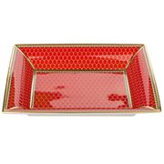 Halcyon Days - Gordon Castle Antler Trellis Red Trinket Tray