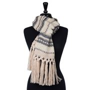 Condura - Acrylic Striped Knit Scarf Beige