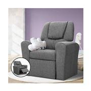 Kids Play - Kids Recliner Chair Grey Linen Soft Sofa