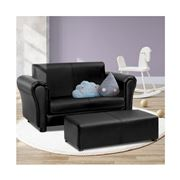 Kids Play - Kids Sofa Armchair Footstool Set Black