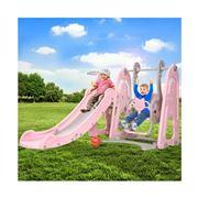 Kids Play - Kids Slide Swing Outdoor w/Basketball Hoop Pink