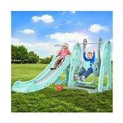 Kids Play - Kids Slide Outdoor w/Basketball Hoop Green