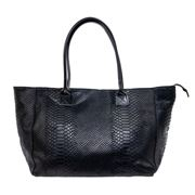 Marlafiji - Jodie Black Leather Shopper w/Reptile Effect