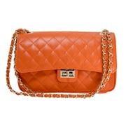 Marlafiji - Bianca Quilted Leather Handbag Orange