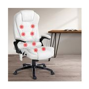 Home Office Design - 8 Point PU Reclining Chair White