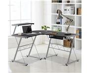 Home Office Design - Corner Metal Pull Out Table Desk Black