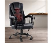 Home Office Design - Electric Massage Chair PU Recliner Blk