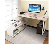 Home Office Design - Rotary Corner Desk Bookshelf Brown