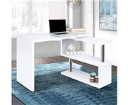 Home Office Design - Rotary Corner Desk Bookshelf White