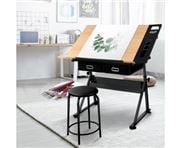 Home Office Design - Tilt Drafting Table Stool Set Natural