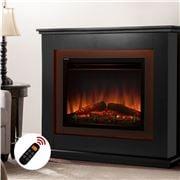 Devanti - Mantle Fire Log Wood Heater 3D Flame Effect Black
