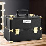 Embellir - Portable Cosmetic Makeup Case Black & Gold