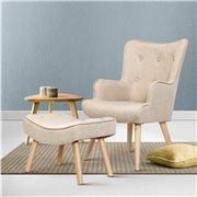MyBar - Armchair Lounge Chair Ottoman Beige
