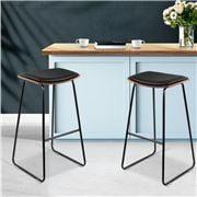 MyBar - BacklessPU Bar stool Black/Wood Set 2pc