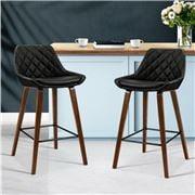 MyBar - Bar stool Bentwood PU Pleat Black Set 2pc