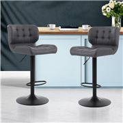 MyBar - Bar stool Gas Lift Plush PU Black/Grey Set 2pc