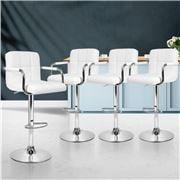 MyBar - Bar stool Gas lift Swivel Steel/White Set 4pc
