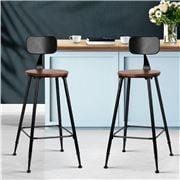 MyBar - Bar stool Pinewood Metal Black/Wood Set 2pc