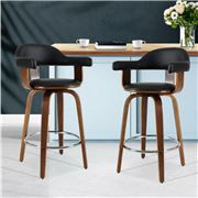 MyBar - Bar stool PU Wooden Swivel Black Set 2pc