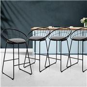 MyBar - Bar stool Steel Grey/Black Set 4pc