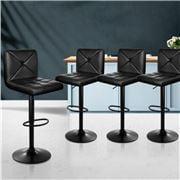 MyBar - Bar Stools PU Criss Cross Style Black Set 4pc