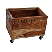 Design Arc - Industrial Recycle Basket On Cast Iron Wheels